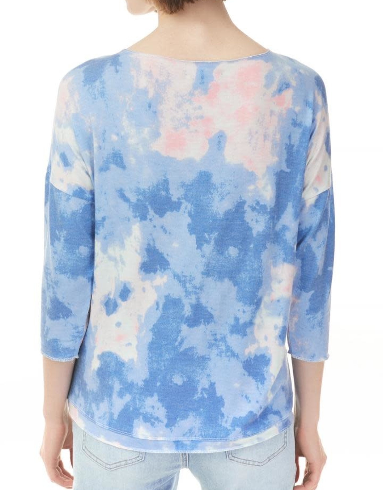 - Blue/Pink Cloud Printed 3/4 Sleeve Top