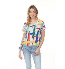 - Multicolor Printed Crepe w/Side Tie