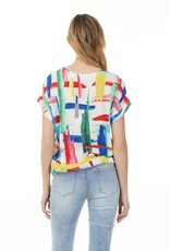 - Multicolor Printed Crepe w/Side Tie