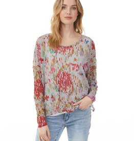 - Multi Color Print Crinkle Mesh Top