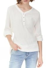 - White Bubble Cotton 3/4 Sleeve Top w/Button Neckline Detail