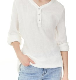 - White Bubble Cotton 3/4 Sleeve Top w/Button Neckline Detail
