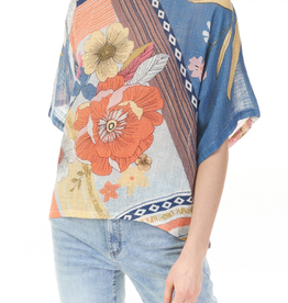 - Multi Color Floral Print Cotton Gauze Top