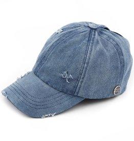 - Blue Denim Distressed C.C. Hat w/Epoxy Buttons