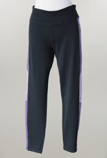 - Black Athletic Legging with Heather Purple Side Detail