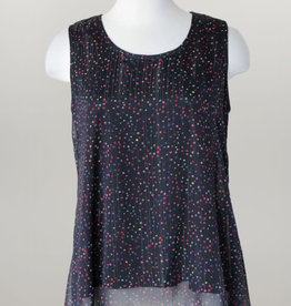 - Black Multi Color Dotted Chiffon Overlay Tank