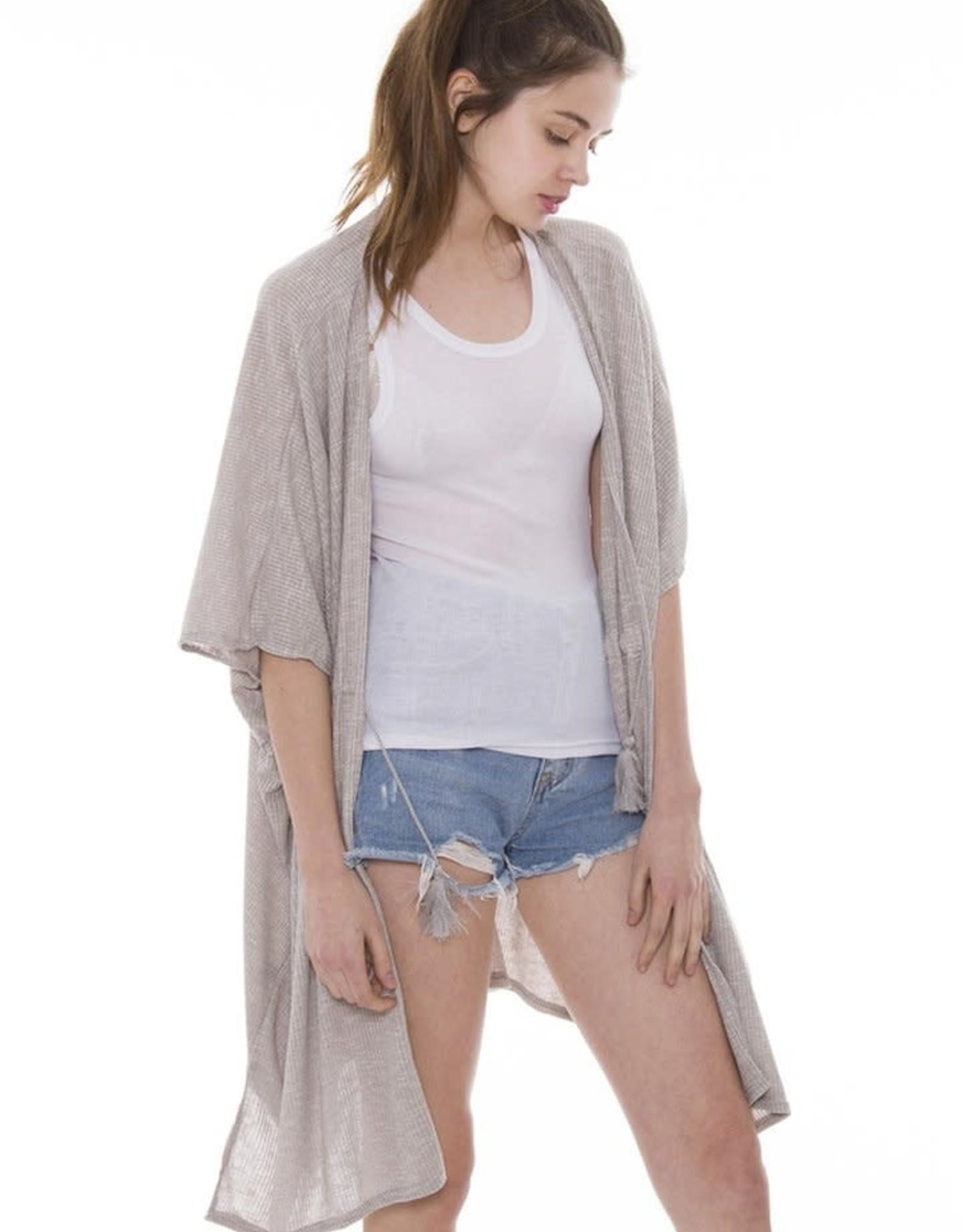 - Grey Ribbed Drawstring Kimono
