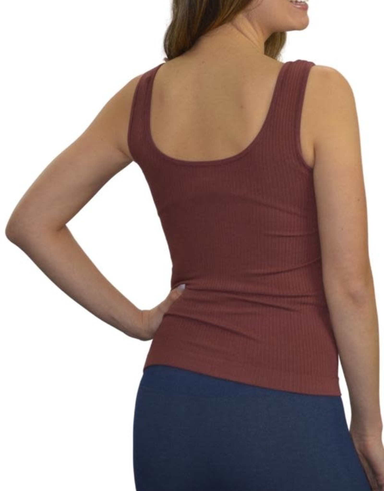 - Cherry Cola Ribbed Reversible Neckline Tank