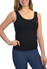 - Black Relaxed Fit Reversible Neckline Tank w/Built-in Bra