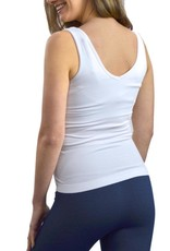 - White Relaxed Fit Reversible Neckline Tank w/Built-in Bra