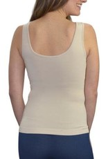 - Sand Shell Relaxed Fit Reversible Neckline Tank w/Built-in Bra
