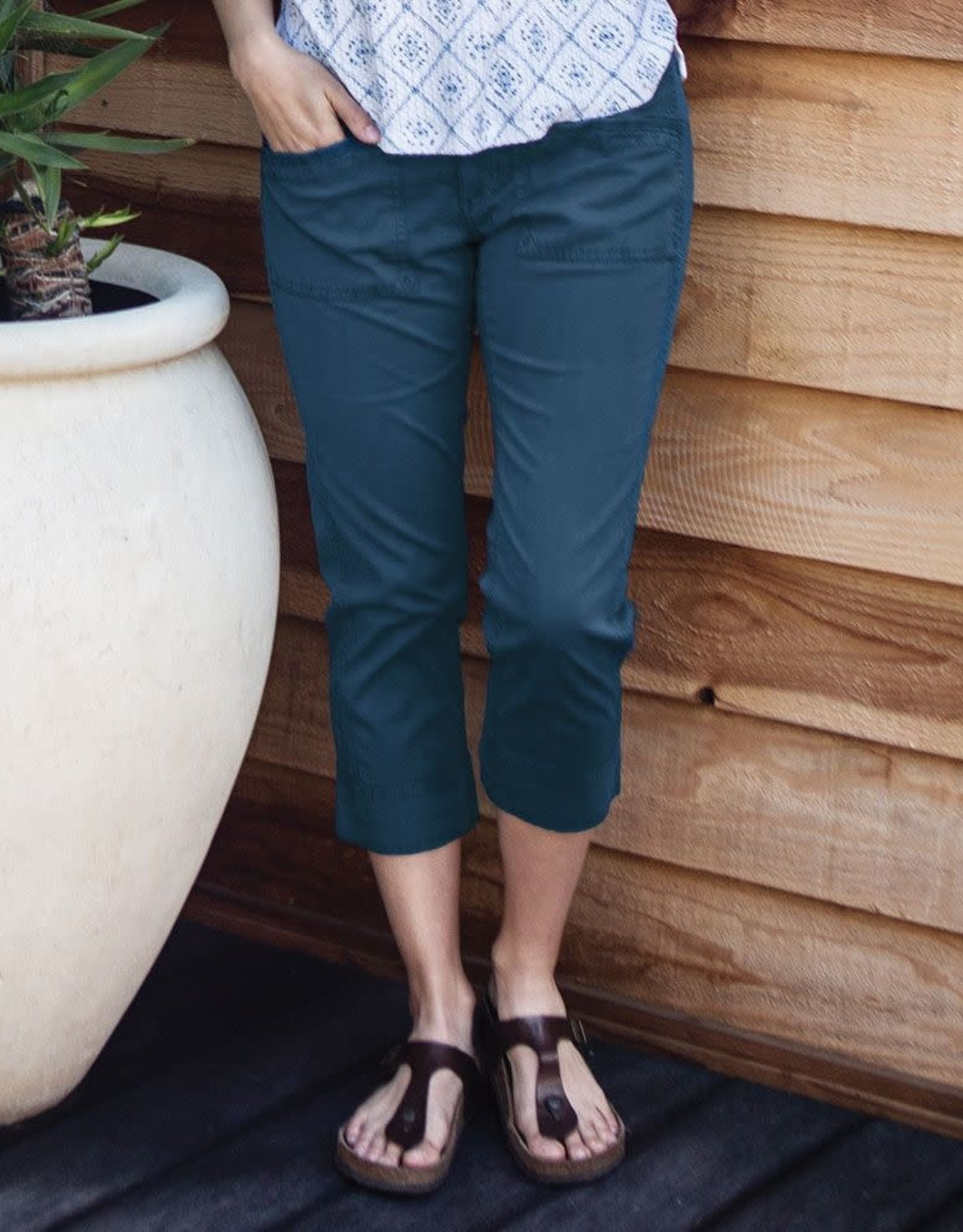 - Teal Relaxed Fit Crop Pant