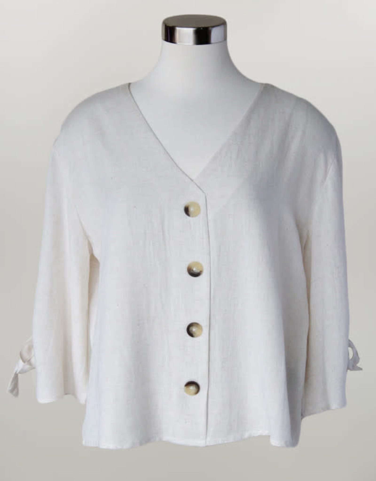 - Cream Button Front 3/4 Sleeve Top w/Arm Ties