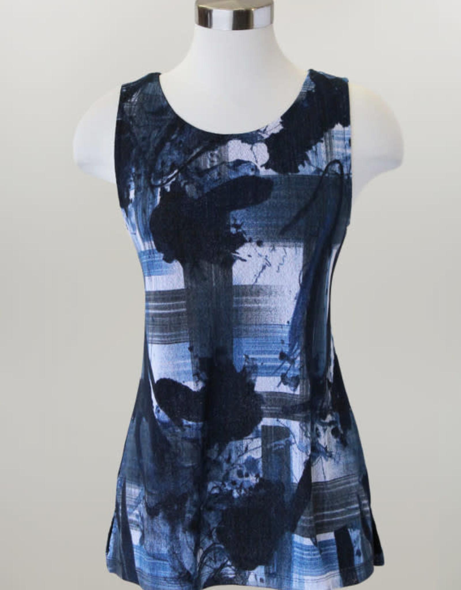 - Black/Blue/White Print Mesh Tank