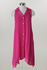 - Fuschia Button Down Dress w/Tank Underlay