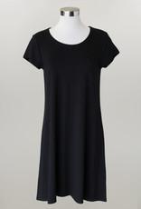 - Solid Black Knit Short Sleeve Dress