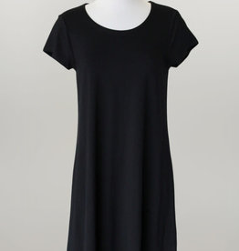 - Solid Black Knit Short Sleeve Dress