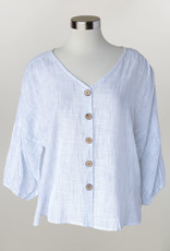 - White/Blue Stripe 3/4 Sleeve Top w/Button Front