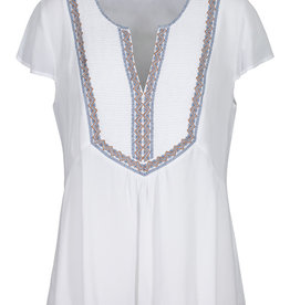 Tribal White Embroidered Short Sleeve Top