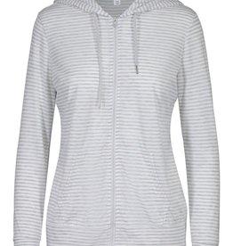 Tribal Grey/White Stripe Zip-up Hoodie