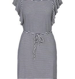 Tribal Navy/White Stripe Flutter Sleeve Dress