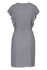 Tribal Navy/White Stripe Flutter Sleeve Dress