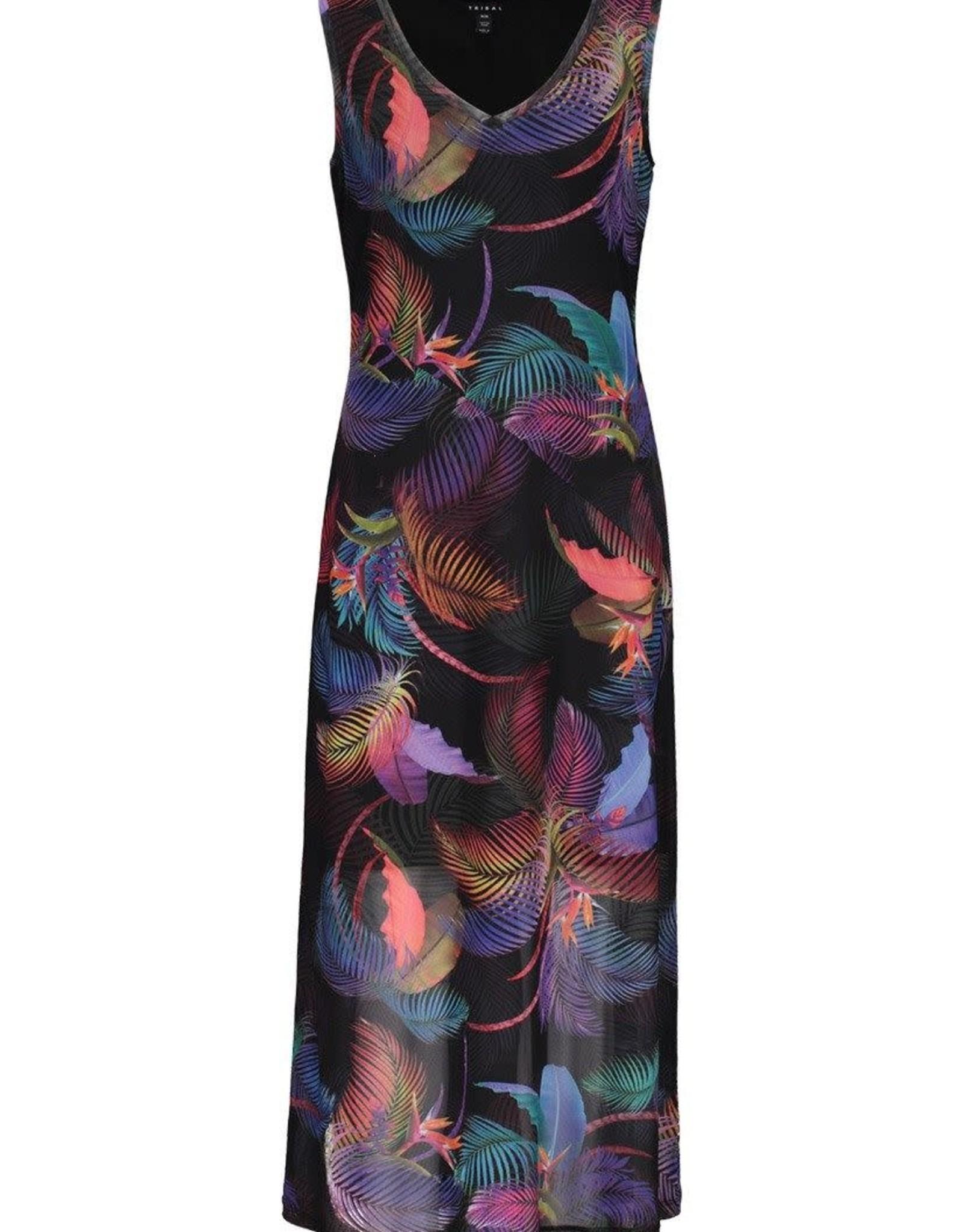 Tribal Multi Colored Tropical Print Maxi Dress