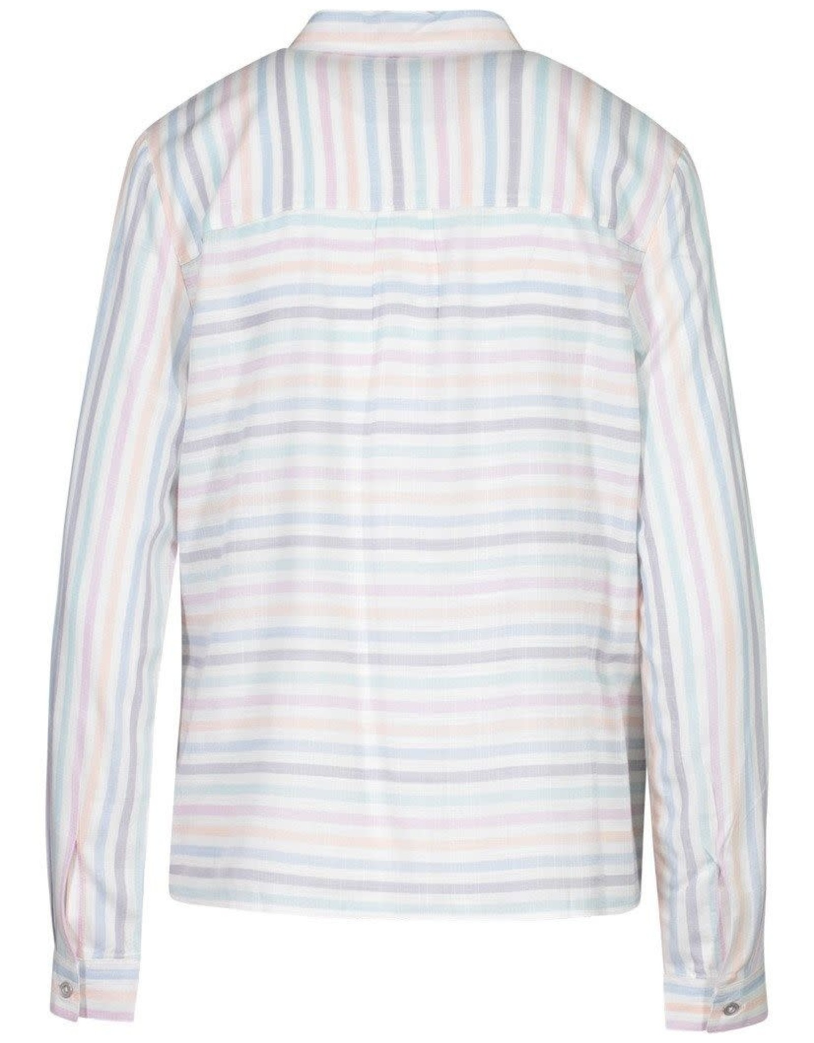 Tribal Multi Colored Stripe Button-Down Top w/Front Tie