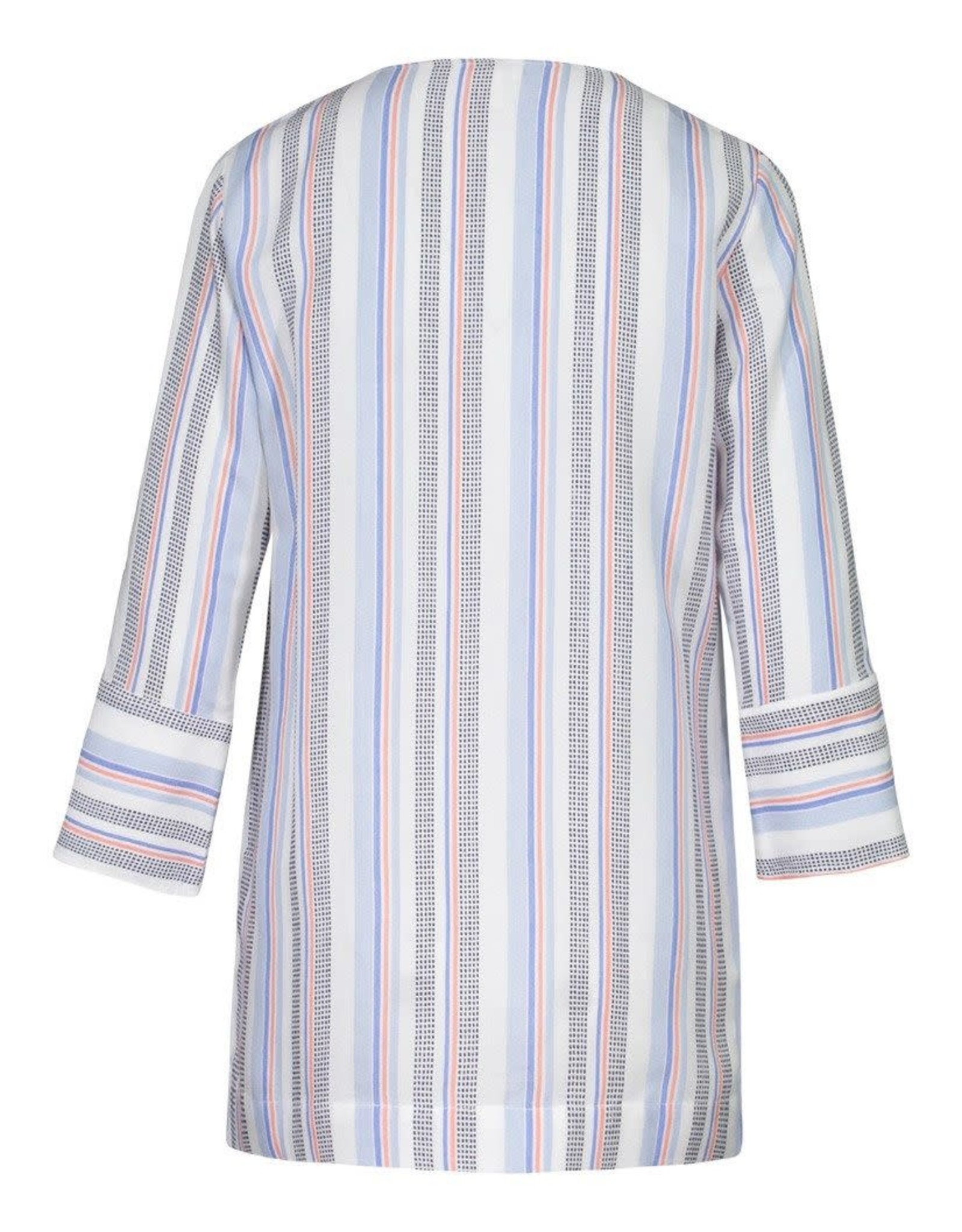Tribal White Striped 3/4 Sleeve Top w/Lace-up Neck