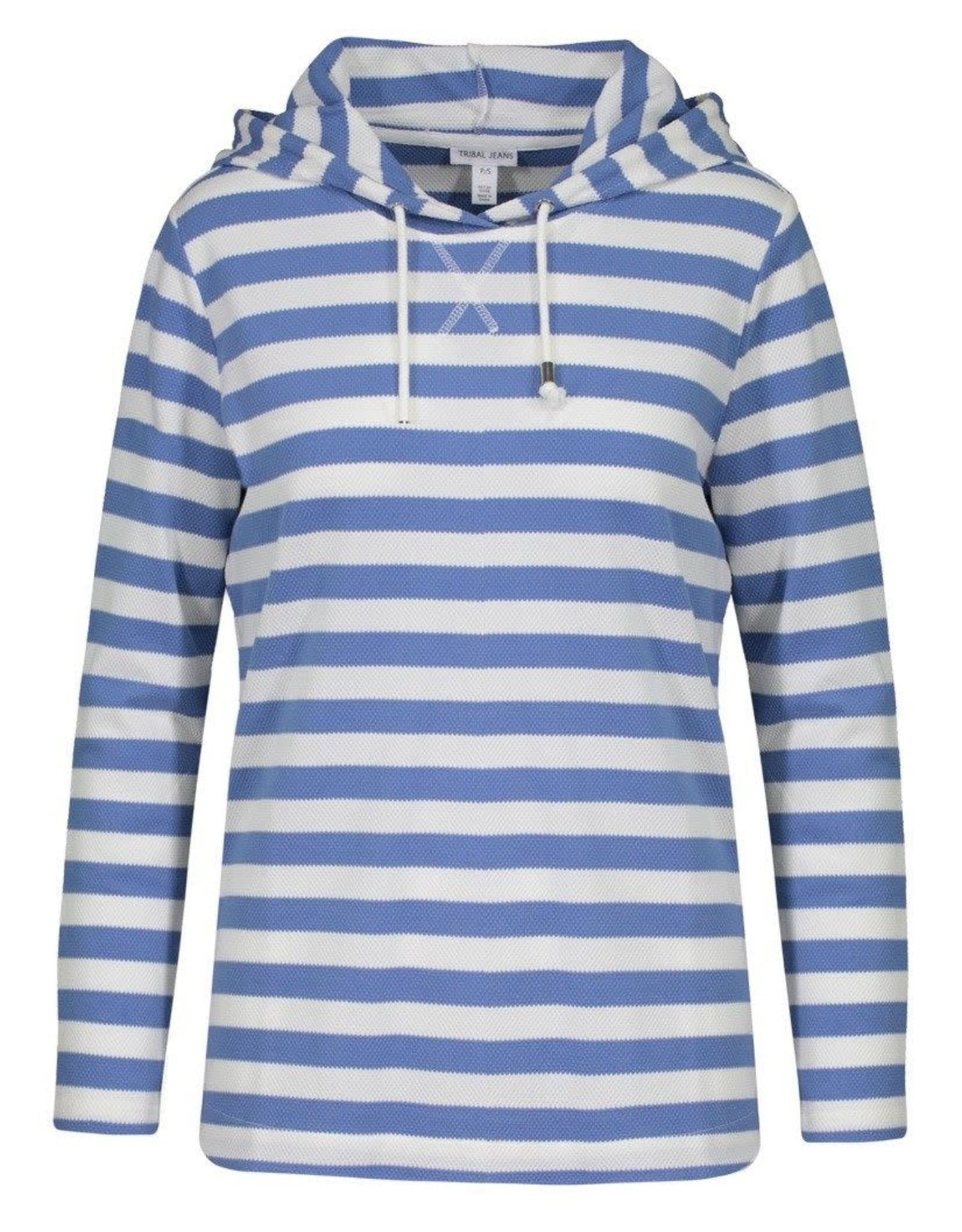 Tribal Blue/White Stripe Hoodie w/Side Buttons
