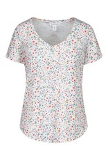 Tribal Multi Colored Floral Print Short Sleeve Top