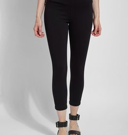Lysse Black Knit Toothpick Denim Crop Legging
