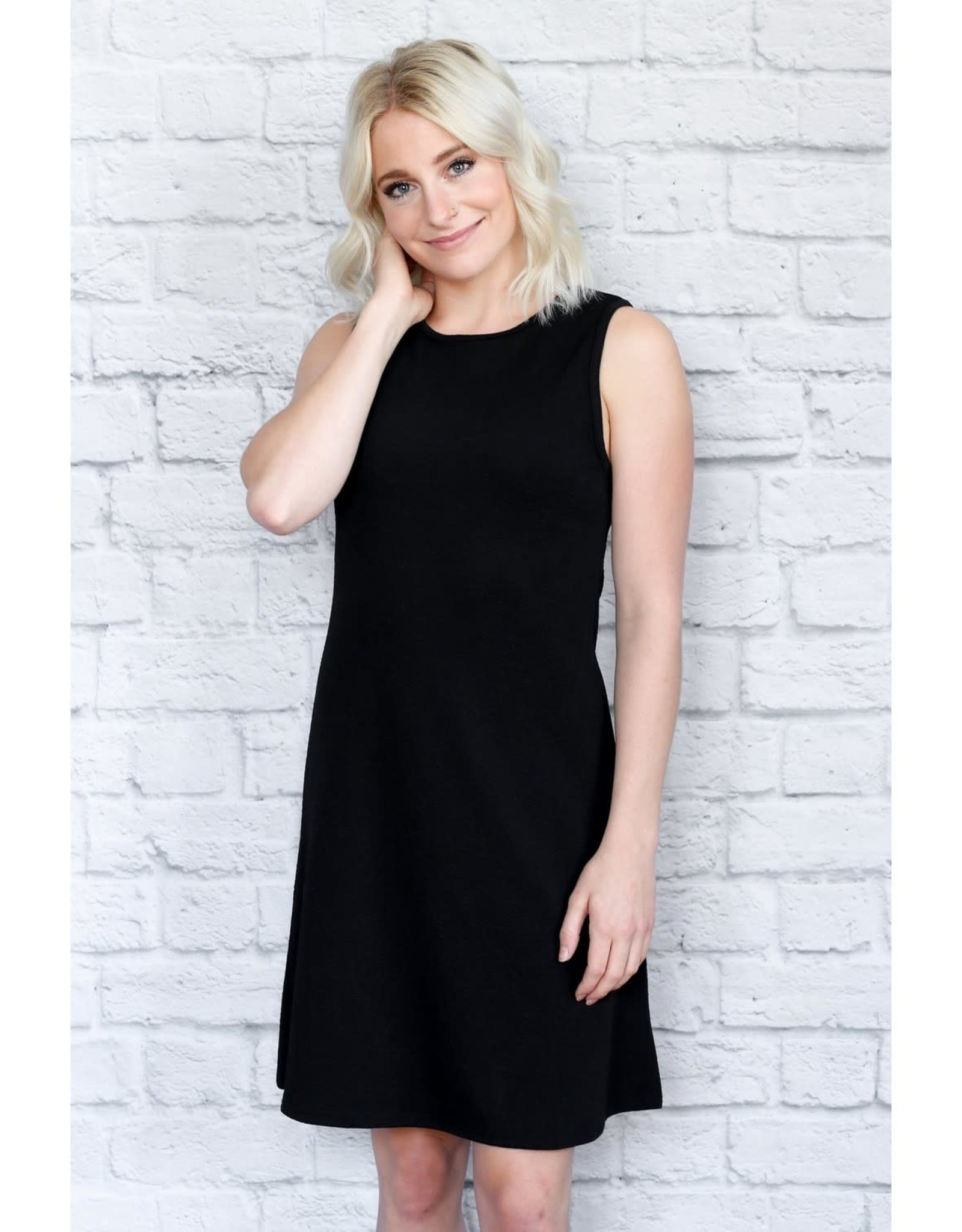 - Black A-Line Crinkle Tank Dress