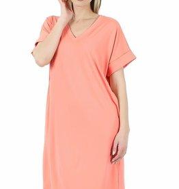 - Coral Rolled Short Sleeve V-Neck Dress