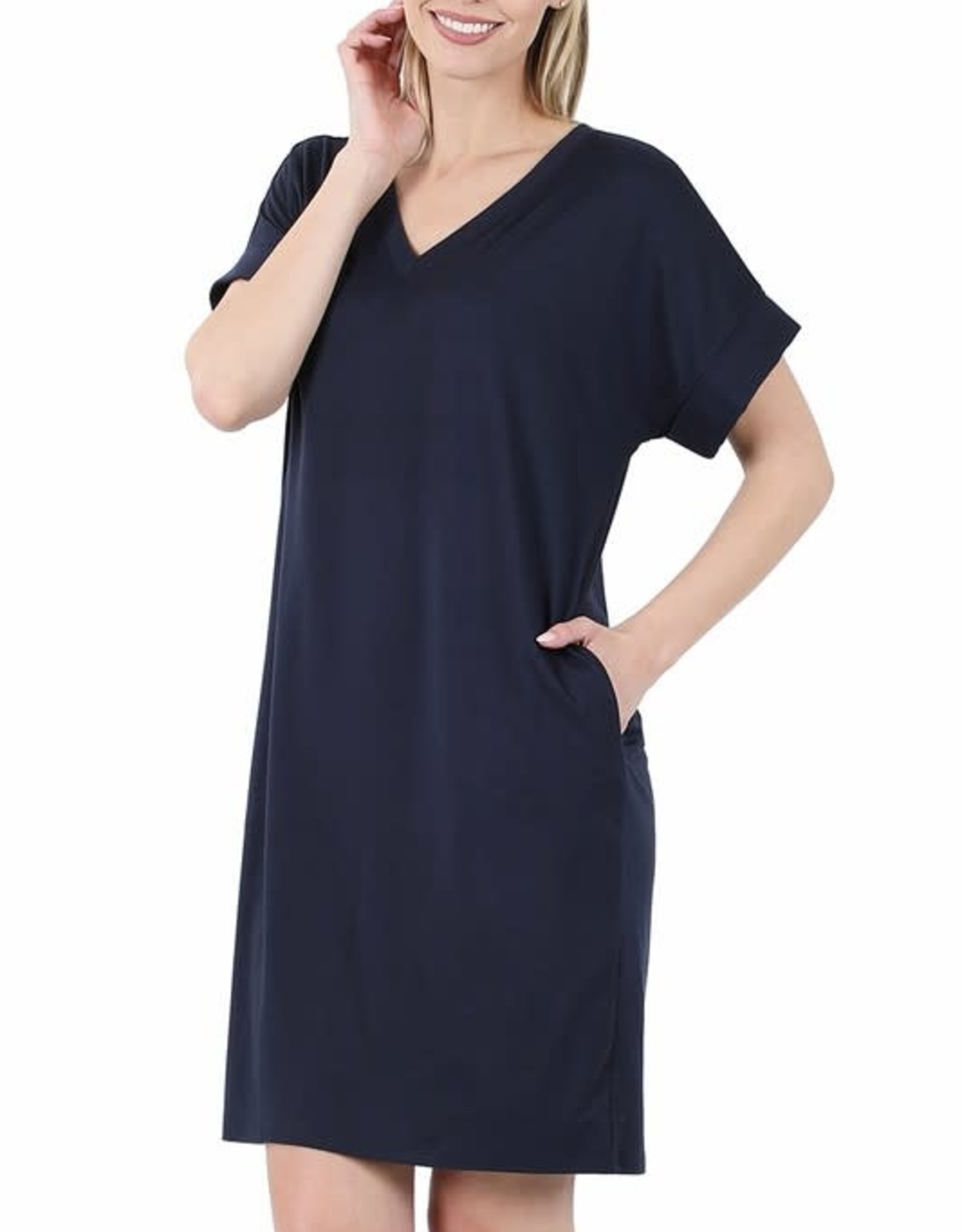- Navy Rolled Short Sleeve V-Neck Dress