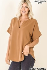 - Deep Camel Woven Split Neck Short Sleeve Top