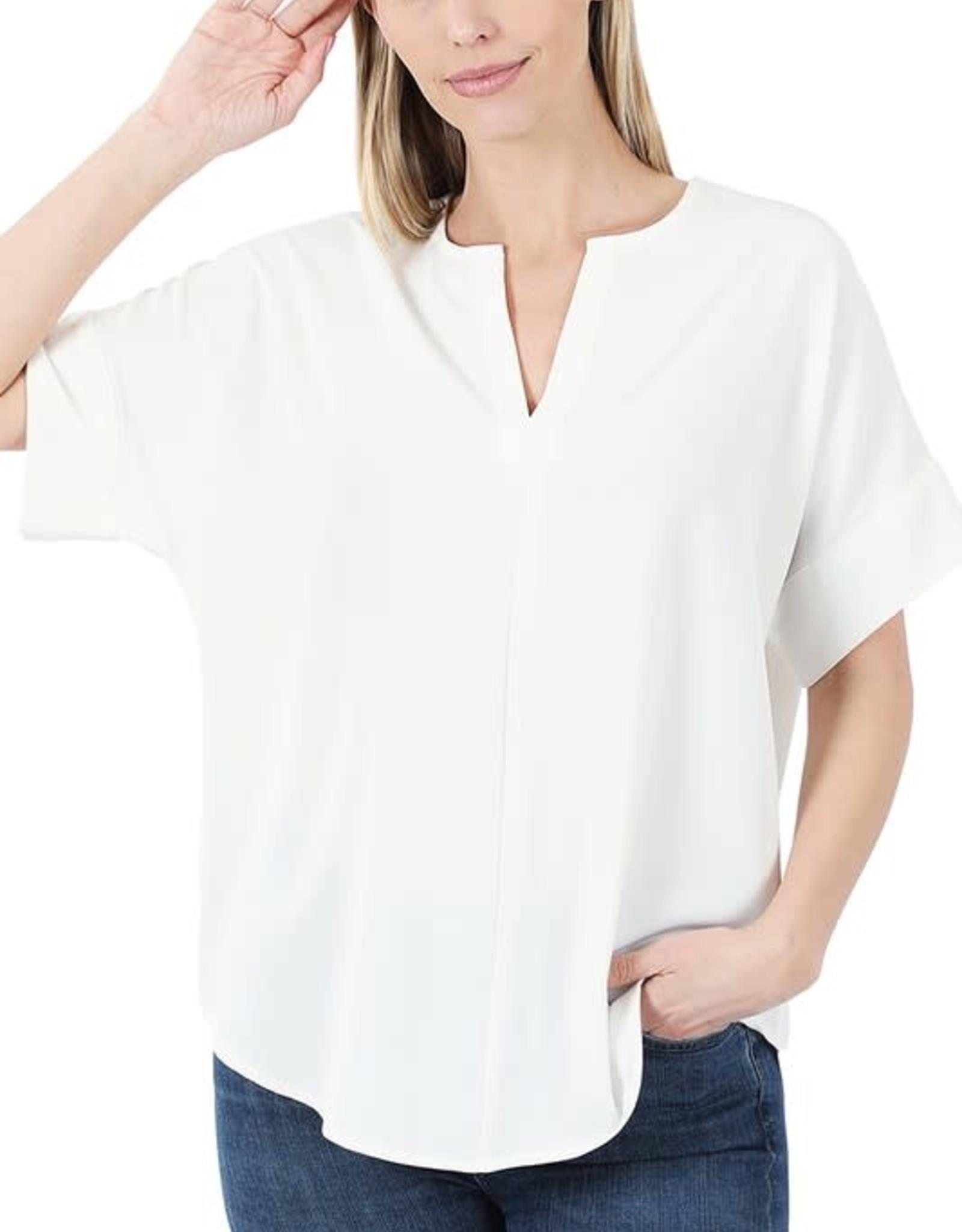 - Off White Woven Split Neck Short Sleeve Top
