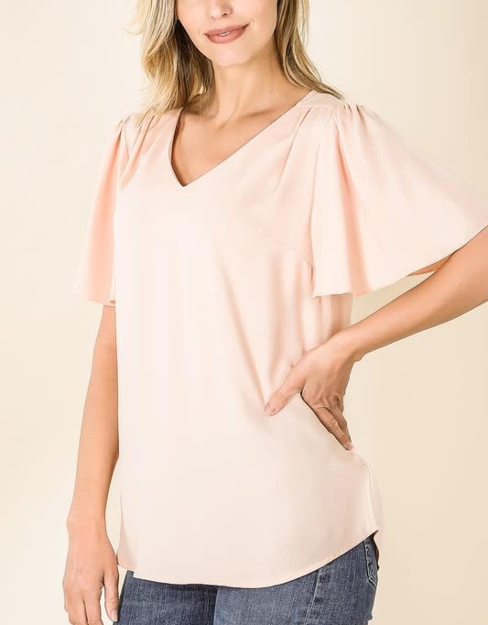 - Peach Waterfall Sleeve V-Neck Short Sleeve Top