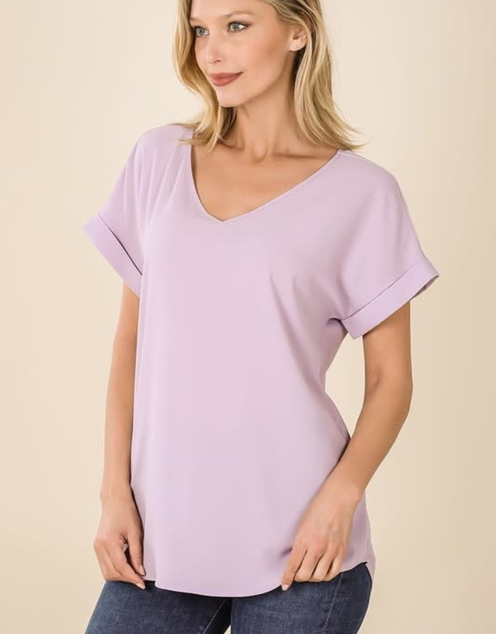 - Dusty Lavender Rolled Short Sleeve V-Neck Top