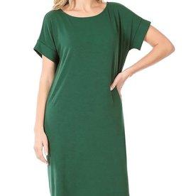 - Dark Green Rolled Short Sleeve Dress w/Roundneck