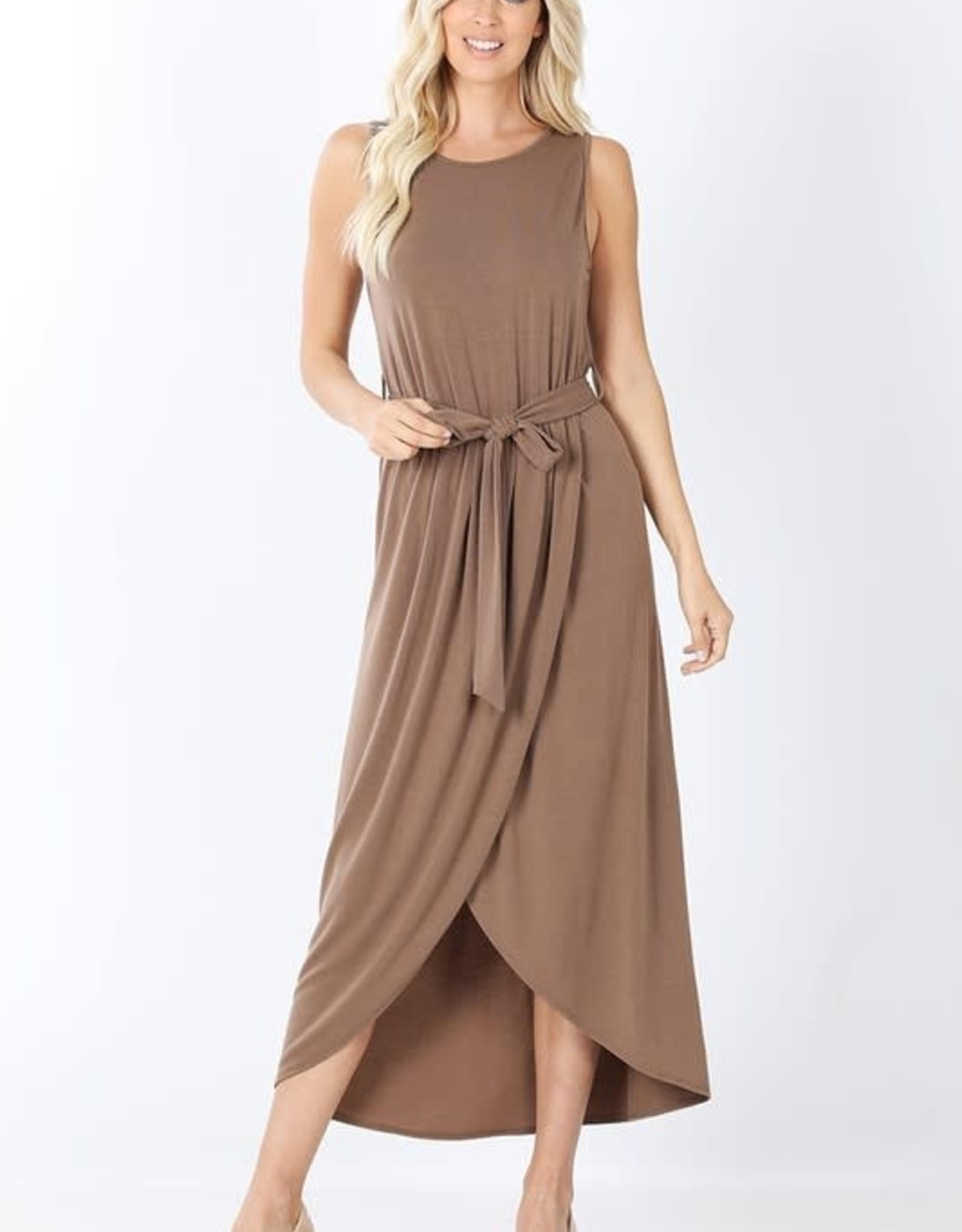 - Mocha Belted Sleeveless Tulip Dress