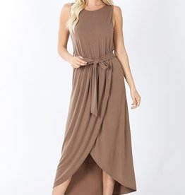 - Mocha Belted Sleeveless Tulip Dress
