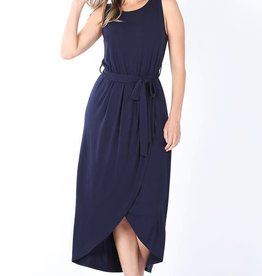 - Navy Belted Sleeveless Tulip Dress