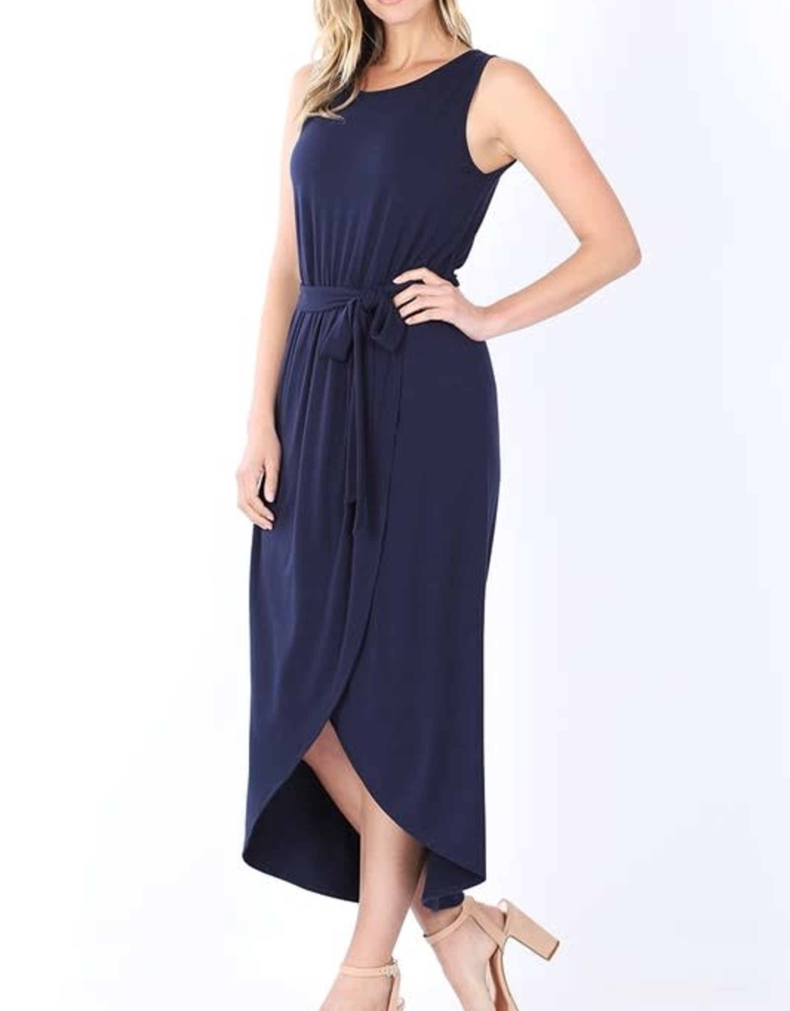 - Navy Belted Sleeveless Tulip Dress