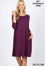 - Dark Plum 3/4 Sleeve Flare Dress w/Pockets
