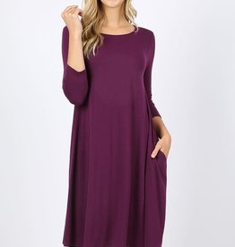 - Dark Plum 3/4 Sleeve Flare Dress w/Pockets
