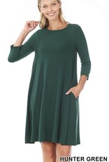 - Hunter Green 3/4 Sleeve Flare Dress w/Pockets