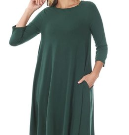 - Hunter Green 3/4 Sleeve Flare Dress w/Pockets