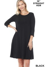 - Black 3/4 Sleeve Flare Dress w/Pockets