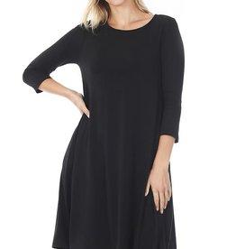 - Black 3/4 Sleeve Flare Dress w/Pockets